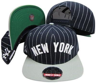 American Needle New York Yankees Pinstripe Two Tone Plastic Snapback Adjustable Plastic Snap Back Hat/Cap