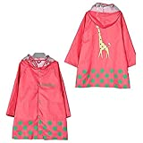 TopRen Unisex Kid's Fashion Cute Rain Coat, Cartoon Waterproof Children's Raincoat Rainwear Lightweight for Ages 3-12 Years Old Girls and Boys 4 Size, 3 Color
