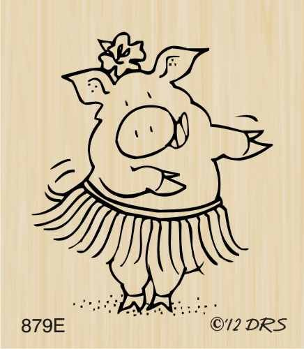 Hula Pig Rubber Stamp By DRS Designs by DRS Designs Rubber Stamps