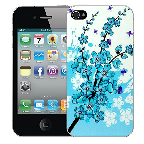 Mobile Case Mate iPhone 5 Silicone Coque couverture case cover Pare-chocs + STYLET - Blue Floral Bee pattern (SILICON)