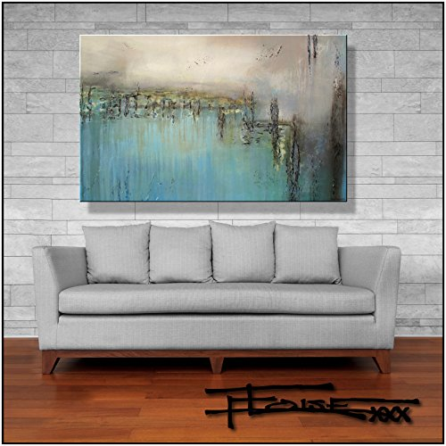 Eloise World Studio - ELOISExxx Abstract Canvas Painting Limited Edition Giclee Textured Wall Art Framed 48in. x 30in. x 1.5in. Oil