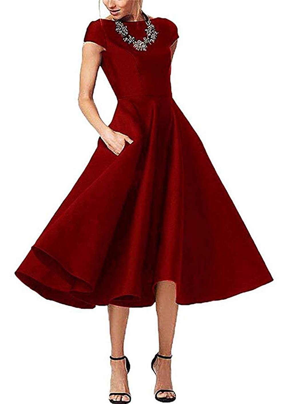 Dark Red tutu.vivi Women's Satin Tea Length Mother of The Bride Dresses Short Sleeves Prom Dress with Pockets