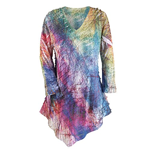 "Jess & Jane ""Color Palette"" Beautiful Artistic Asymetric Ruffle Top"