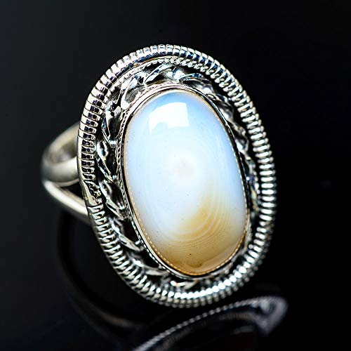Ana Silver Co Botswana Agate Ring Size 8.75 (925 Sterling Silver) - Handmade Jewelry, Bohemian, Vintage RING947817