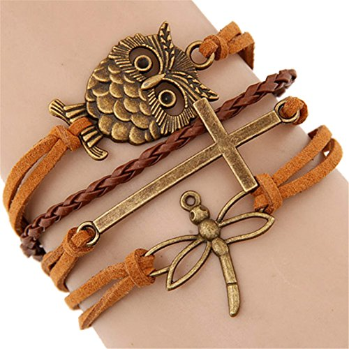 AnVei-Nao Womens Girls Owl Dragonfly Cross Pendant Pu Leather Weave Bracelets