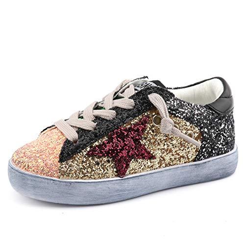 - Bakkotie Toddler Baby Glittler Shoe Girl/Boy Sequin Star Flat Sneaker(F550-Gold/BBNN-37)