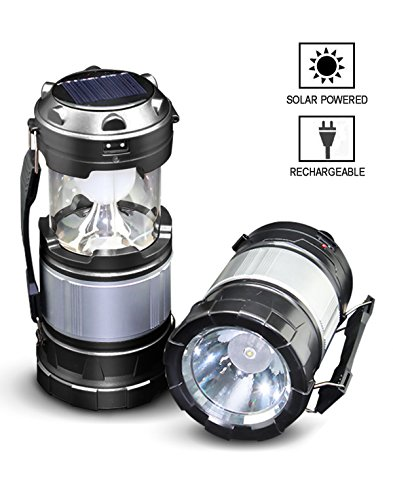 AGARE Ultra Bright Portable Outdoor LED Camping Lantern Solar Lamp Handheld Flashlights Collapsible,Multi Purpose - for Hiking,Camping, Emergencies, Hurricanes, Outages, Storms(Black,Collapsible)