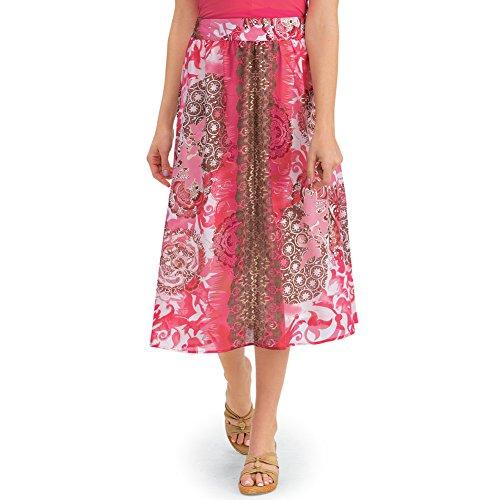 Collections Women's Scroll Medallion Print Knee Length Elastic Waist Full Summer Skirt, Coral, Large