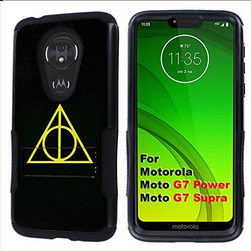 - G7 Power/Supra Rugged Case [Mobiflare] [Black] Air Grip Clamshell Case with Kickstand [Pyramid Secret Society] for Motorola G7 Power/Supra