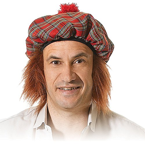 Bristol Novelty BH124 Scots Tartan Hat with Ginger Hair, One Size -