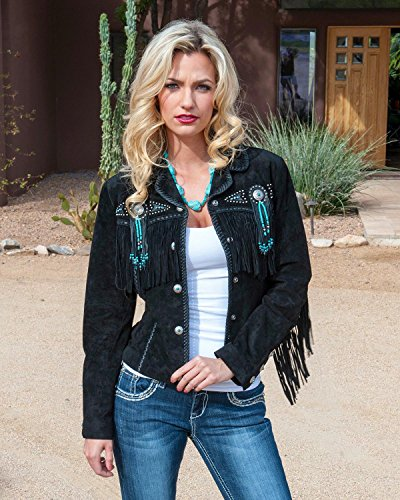 Scully Women's Fringed Suede Leather Jacket Black 3X (Western Womens Black Leather Jacket)