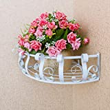 Lzttyee Iron Multi-purpose Scrollwork Design Office Cubicle Sundries Corner Storage Shelf Rack Hanging Balcony Corner Plant Caddy Large (White)