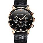 KASHIDUN.Men's Watches Casual Quartz Waterproof Watch Rose Gold Steel Case Mesh Alloy Band-Black.ZH-JHsd