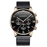 KASHIDUN Men's Watches Luxury Sports Casual Quartz Wristwatches Waterproof Chronograph Calendar Date Rose Gold