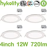 Hykolity 12W 4 inch LED Slim Recessed Ceiling Light, Low Profile Downlight with Juction Box Dimmable, 720lm CRI90, 3000K Warm White, ETL& Energy Star Listed 4 Pack
