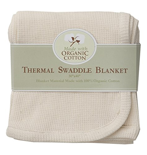 American Baby Company American Baby Company Organic Cotton Thermal Receiving Blanket, White/Cream, Cotton
