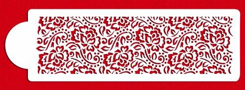 Lace Stencil - Designer Stencils C869 Chantilly Lace 1 Cake Side Stencil, Beige/Semi-Transparent