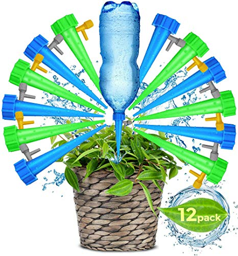 (Adjustable Self Watering Spikes.Indoor Outdoor Plastic Bottle Garden Plants Drip Irrigation Spike System. Works as Watering Bulbs or Globes Stakes with Screw Valve)