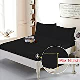Luxury Soft Microfiber 3pc Deep Pocket Fitted Sheet Set By Sleeping Cloud (Black, Queen)