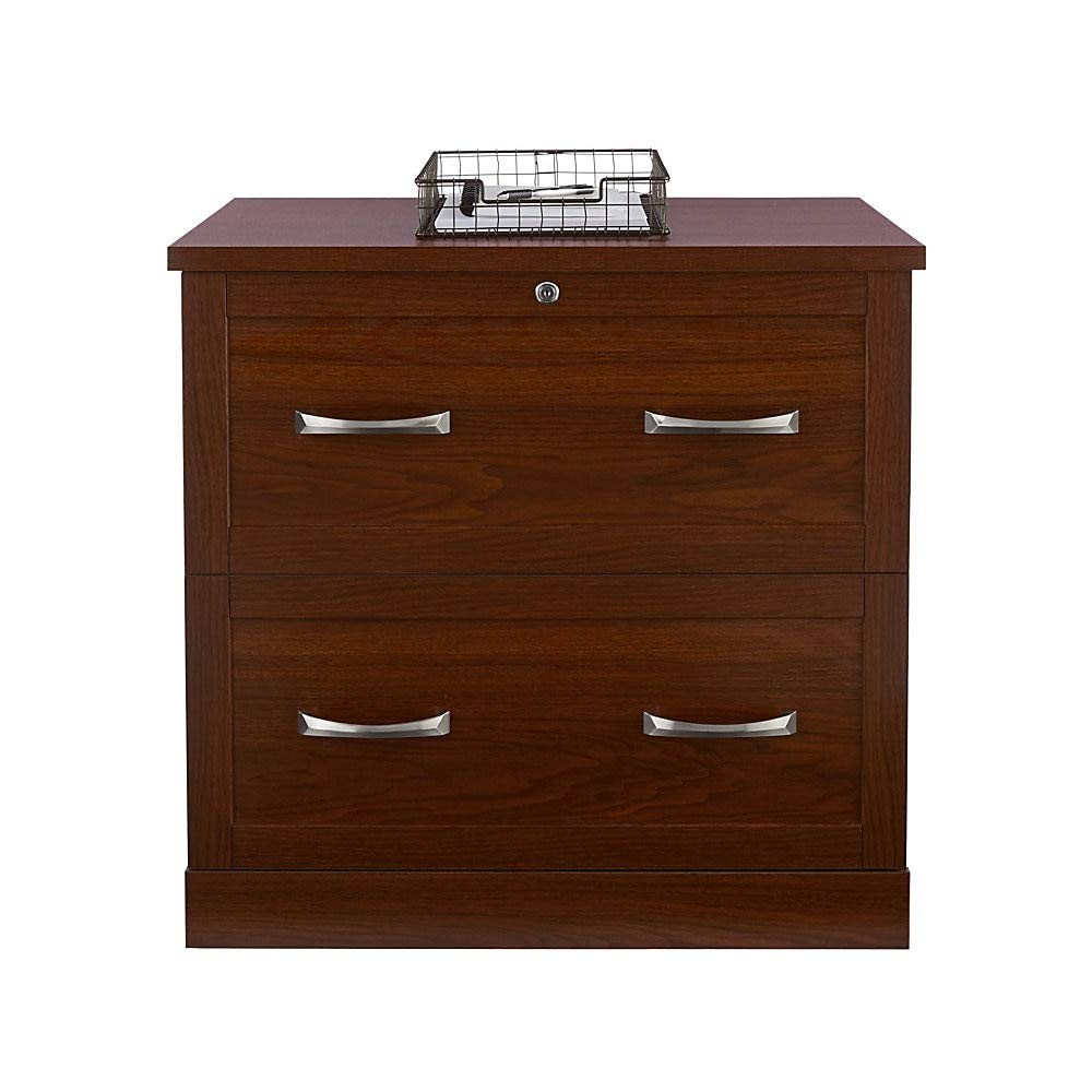 Realspace Premium Letter-/Legal-Size Lateral File Cabinet, 2 Drawers, Brick Cherry by Realspace