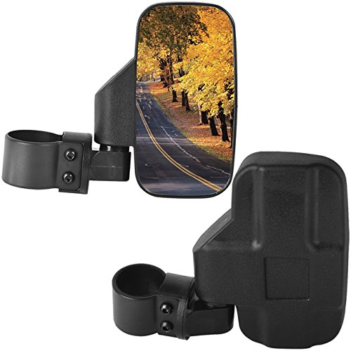 DEDC Adjustable Pair UTV Side Mirror Set 1.5 1.75 or 2inch Roll Bar Cage, Universal UTV Side View Mirrors Rear View High Impact (Rear Roll Bar)