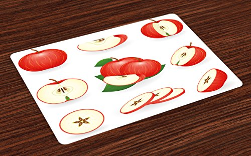 (Ambesonne Sweet Place Mats Set of 4, Yummy Chopped Apple Slices Juicy Fresh Fruits Delicious Nature Illustration Print, Washable Fabric Placemats for Dining Room Kitchen Table Decor, Cream Scarlet)