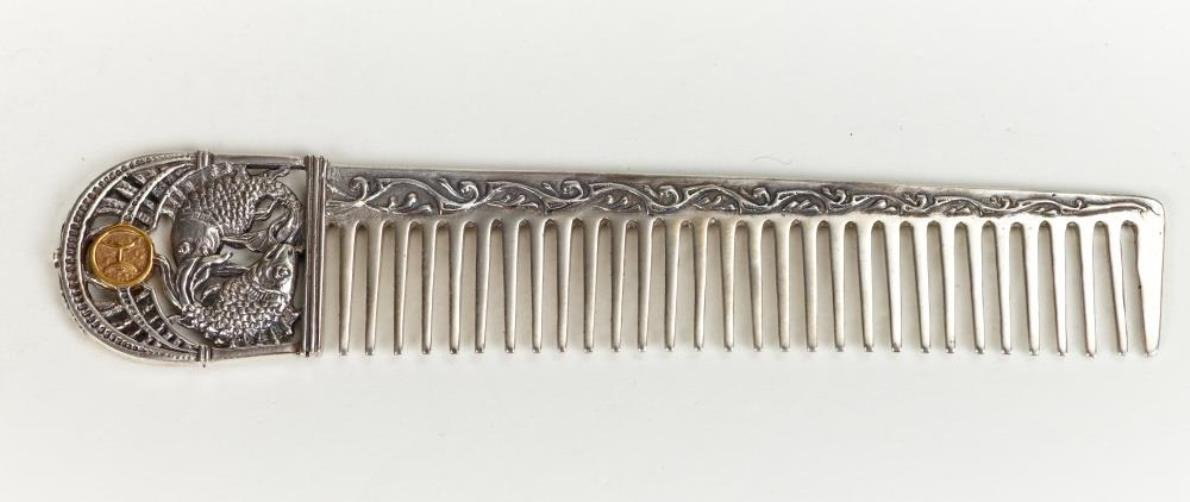 Silver Hair comb with Zodiac Horoscope Astrology Sign ''Pisces''