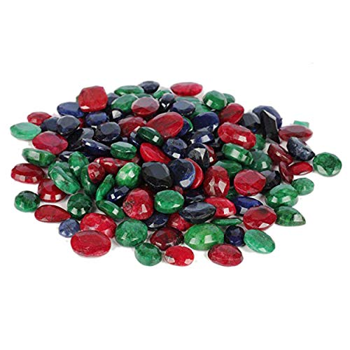 Natural Sapphire Green (Natural Loose Ruby Emerald Sapphire Lot 100 Ct - 7 PCS Facveted Ruby Emerald Sapphire Loose Gemstones for Jewelry)