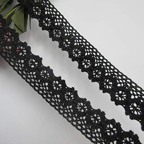 Cluny Lace Fabric - 5 Yards Cotton Crochet Cluny Lace Edge Trim Ribbon 2.5 cm Width Vintage Black Edging Trimmings Fabric Embroidered Applique Sewing Craft Wedding Dress DIY Cards Clothes Hats Embellishment