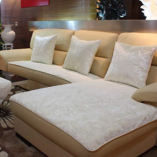 "E-Solem Modern Velvet Chaise Sofa Cover, Sectional Couch Covers, Chaise Sofa Slipcover, Couch Slipcover Protector, Recliner Cover, Armchair Cover, Multi-Size (White, 28"" W x 70"" L (70x180cm))"