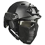 Airsoft Paintball Protective Helmet,Tactical Helmets with Steel Mesh Mask CS Game Set 8 Color Field Game