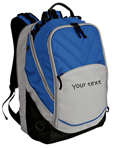 Personalized Royal Blue, Grey, and Black Xcape Backpack with One Line of - Royal Book Bag