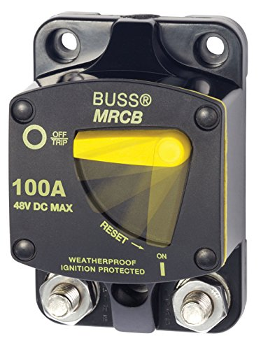 AM Solar Blue Sea Systems Bussman Series 187 Marine Rated Circuit Breaker (MRCB), 100 Amps - Surface Mount (Blue Studs Sea)