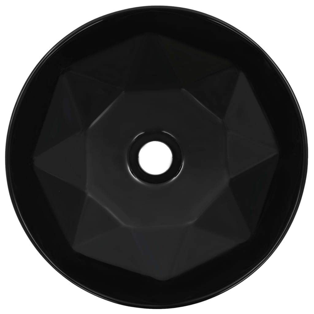 Festnight Lavabo Redondo de Ba/ño Lavabo sobre Encimera 36x14 cm Cer/ámica Negro