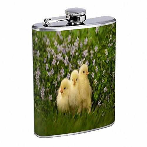 チキンフラスコd5 8オンスステンレススチールキュートふわふわAdorable Baby Chicksイースター   B00WNX19FW