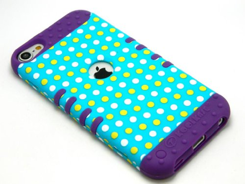 (CellPhone Trendz Hybrid 2 in 1 Case Hard Cover Faceplate Skin Purple Silicone and Yellow White Blue Light Polka Dots Snap Protector for Apple iPod iTouch 5 (5th Generation) )