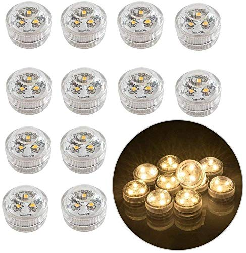12 piezas sin llama LED velas de luz de te con pilas sumergibles a prueba de agua luces decorativas para florero pecera boda centro de mesa luces de fiesta de Halloween blanco calido
