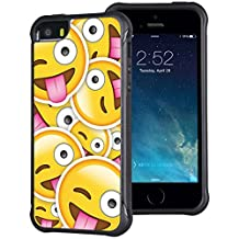 iPhone 5 5S Case True Color® Emoji Winking Eye Tongue Out Emboss Printed Impact Resistant TPU Protective Durable Anti-slip Grip Snap-On Soft Rugged Emoticon Cover Multi Collection [True Impact Series]