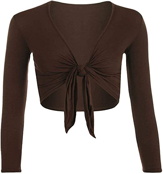 Womens Ladies Cap Sleeve Tie Up Front Cropped Bolero Shrug Cardigan 8-26