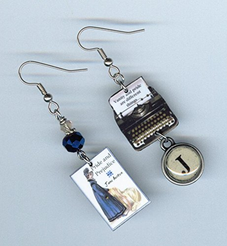 Book Cover Typewriter Earrings Jane Austen Pride and Prejudice