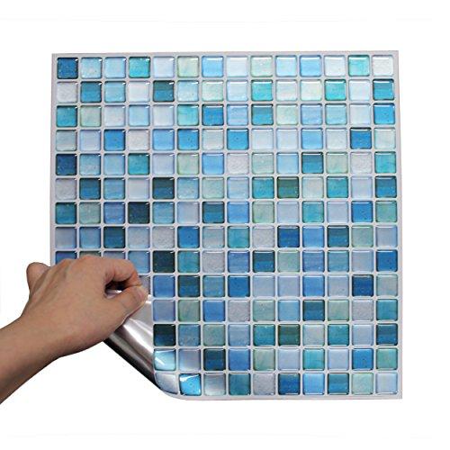 BEAUSTILE Decorative Tile Stickers Peel and Stick Backsplash Fire Retardant Tile Sheet (10pcs) (N.Blue) by BEAUS TILE (Image #4)
