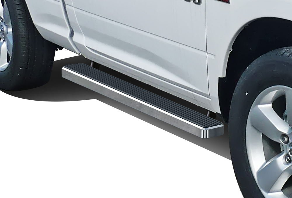 iBoard (Silver 4 inches) Running Boards | Nerf Bars | Side Steps | Step Rails For 2009-2018 Ram 1500 Regular Cab Pickup 2Dr & 2010-2018 Ram 2500/3500 APS Autoparts