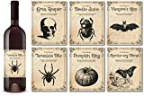 6 Vintage Halloween Wine Bottle Labels, Halloween Gifts Or Funny Holiday Wine Bottle Stickers, Halloween Decorations, Awesome Holiday Gift Basket. Haunted House Prop, Halloween Party Favors