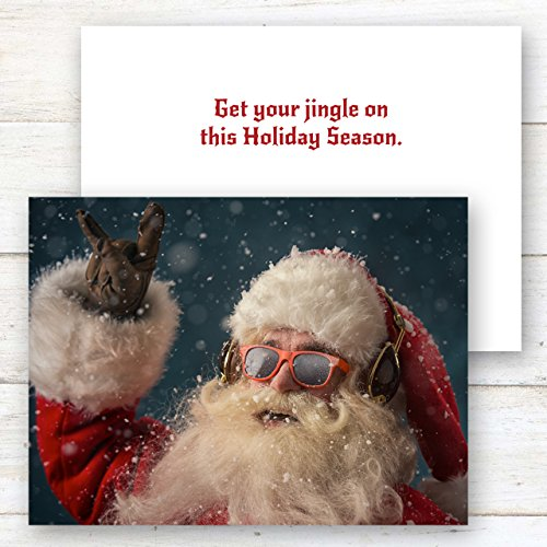 Rock 'n Roll Santa Holiday Card Pack - Set of 25 cards - 1 design, versed inside with envelopes Photo #2