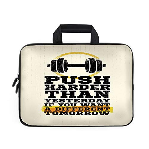 (Fitness Laptop Carrying Bag Sleeve,Neoprene Sleeve Case/Push Harder Sports Phrase Positive Message Grungy Display with Dumbbell Decorative/for Apple Macbook Air Samsung Google Acer HP DELL Lenovo Asus)