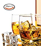 LuckyStar365 20 PCS Clear Acrylic Ice Cubes Square Shape,Fake Artificial Acrylic Ice Cubes for Photography Props&Kitchen Decoration 1inch/2.5cm