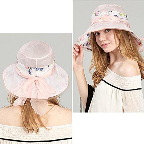 Gray Pink Sushi Elegante color Plegable Protector Sol Verano Gorro Baño Pescador Gorra Playa Seda Mujer Domo Para Sombrero De Solar Mulberry rHqrxR
