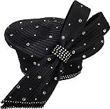 Women's Designer Couture Dressy Church or Derby Satin Ribbon Pillbox Hat (Black)