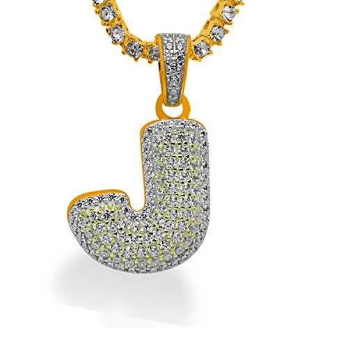 925 Sterling Silver Yellow Gold-Tone Iced Out Hip Hop Swag Bling Bubble Letter J Pendant with 16'' 1 Row Chain by iRockBling