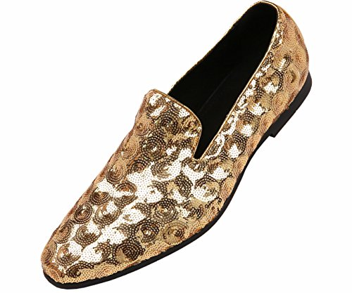 Amali Mens Sequin Circle Patterned Comfortable Smoking Slipper Dress Shoe, Nightclub Slip On Loafer Gold]()